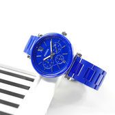 FOSSIL / LE1097 / 限量版 Carlie 優雅迷人 三眼三針 日本機芯 陶瓷手錶 寶藍色 38mm