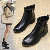 馬丁靴女新款冬季韓版裸靴時尚粗跟低跟加絨女靴子時尚短靴女 新春喜迎好年