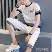 2019新款夏季男士短袖t恤兩件套休閒套裝韓版潮流一套潮衣服男裝 polygirl
