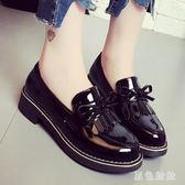 韓版軟妹黑色小皮鞋女時尚舒適新款學生平底工作鞋網紅仙女單鞋子 qf4880【黑色妹妹】