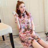 中大尺碼 雪紡洋裝 夏款中國風大碼女裝寬鬆改良旗袍印花連身裙 nm897 【VIKI菈菈】