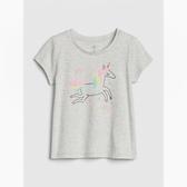 Gap女幼童趣印花圓領短袖T恤538964-獨角獸圖案