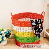 臟衣籃臟衣服收納筐籃粗管塑料藤編臟衣簍洗衣籃玩具收納籃箱編織  印象家品旗艦店