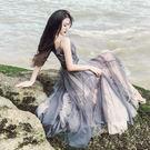VK精品服飾 韓國風仙女浪滿網紗拼接氣質...