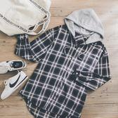 MUMU【T69681】休閒連帽黑白格紋襯衫