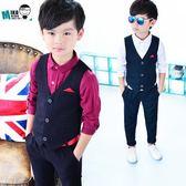 花童禮服春秋季韓版男童禮服套裝 英倫風西裝馬甲兩件套        SQ7812『寶貝兒童裝』