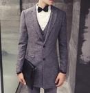 找到自己品牌 韓國男 中長款 西裝外套穿搭 三件式套裝 成套西裝 西裝修身 外套+背心+褲子