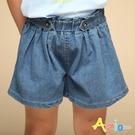 Azio 女童 短褲 雙鈕扣褲頭鬆緊牛仔寬鬆短褲(藍) Azio Kids 美國派 童裝