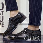 男士商務正裝皮鞋男漆皮尖頭系帶青年休閑伴郎西裝婚紗照男鞋
