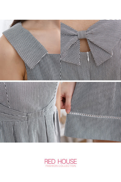 【RED HOUSE-蕾赫斯】俏麗細條紋洋裝-網路獨家款