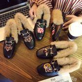 歐洲站毛毛鞋穆勒鞋懶人社會女涼拖鞋包頭外穿秋冬季2017新款韓版