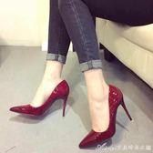 新款歐美春秋尖頭高跟鞋細跟漆皮女單鞋紅色婚鞋黑色工作鞋LO