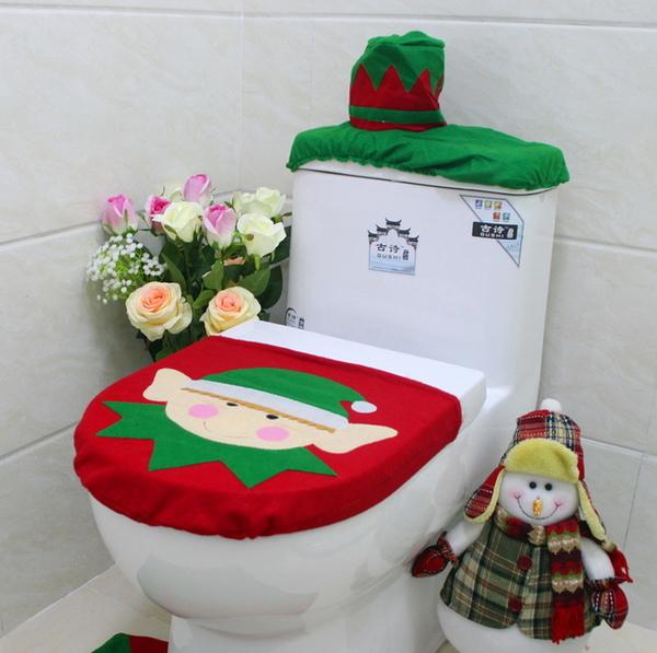 聖誕節裝飾品聖誕精靈馬桶套蓋子 35*44cm單個馬桶套 家居裝飾─預購CH2431
