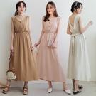 MIUSTAR 半排釦V領綁結棉麻洋裝(共3色)【NJ1027】預購