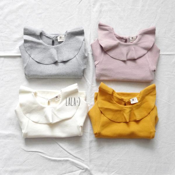 正韓 LALA 荷葉邊翻領長袖上衣 S Ruffle T-Shirt 灰色 / 粉色 / 象牙白 三色