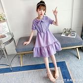 女童夏裝洋裝/連身裙2021新款娃娃領中長裙兒童裙子女公主裙洋氣中大童 快速出貨