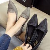 (全館一件免運)DE shop - 尖頭百搭格子紋休閒平底包鞋 (NN-6088)