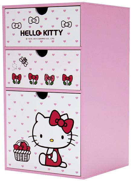 【震撼精品百貨】Hello Kitty_凱蒂貓~HELLO KITTY直式三抽置物盒#52508