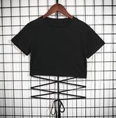 EASON SHOP(GW6739)實拍厭世風工裝下擺交叉綁繩圓領短袖T恤露肚臍女上衣服彈力貼身內搭衫顯瘦黑色