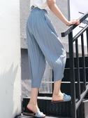 七分褲 七分褲女寬鬆夏季大碼休閒褲女胖mm雪紡褶皺闊腿薄款蘿卜褲燈籠褲