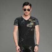 短袖T恤男 韓版潮流 休閒上衣 夏季個性中國風悟空印花短袖V領T恤男短袖wx3355