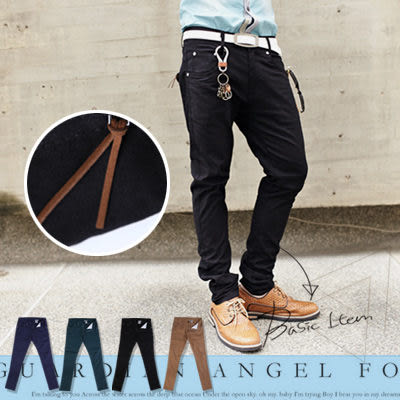 ∥柒零年代∥S/S OutDoor【N7853J】韓版都會雅痞質感皮革拉鏈設計窄管色褲/休閒褲(GS8260)