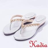 2017春夏新品kadia.華麗寶石水鑽夾腳拖鞋(7121-85銀)