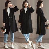 風衣 大衣-中長版雙排釦寬鬆側邊線條女外套73pt57[巴黎精品]
