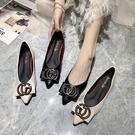 低跟鞋 尖頭單鞋女2020春季新款百搭黑色皮鞋平底鞋豆豆船鞋瓢鞋春