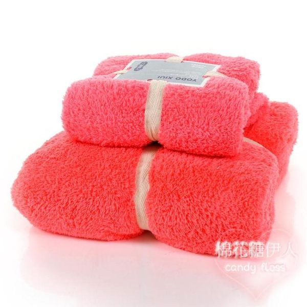 婚慶珊瑚絨柔軟加厚浴巾毛巾2件裝LVV2807【棉花糖伊人】