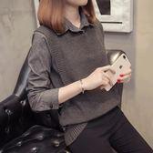 毛衣女2018新款針織馬甲襯衫毛衣外套女寬松襯衣領假兩件套上衣女「爆米花」