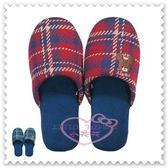 小花花日本精品♥ the bears' school 上學熊 紅色 格紋 絨布 拖鞋 室內拖鞋 24公分 7896340
