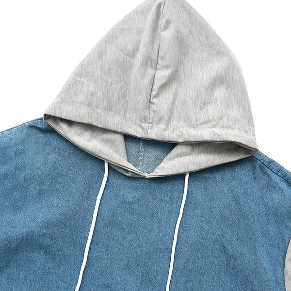★現貨★MIUSTAR 異材質拼接!棉質連帽拼接牛仔荷葉洋裝(共1色)【NF4132EX】