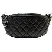 CHANEL 香奈兒 黑色羊皮菱格紋拉鍊腰包Classic Banane Fanny Pack Belt Bag BRAND OFF