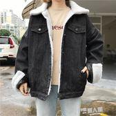 韓版加厚羊羔毛牛仔外套女學生寬鬆bf學院風棉衣棉服加絨短款棉襖 全館免運