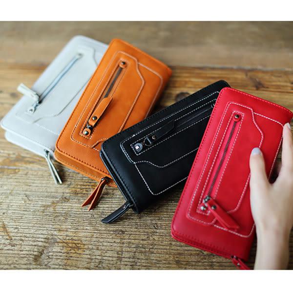 *UOU*韓國時尚款長夾錢包復古白車繡線拉鏈手拿包手機包皮夾‧4色/T017