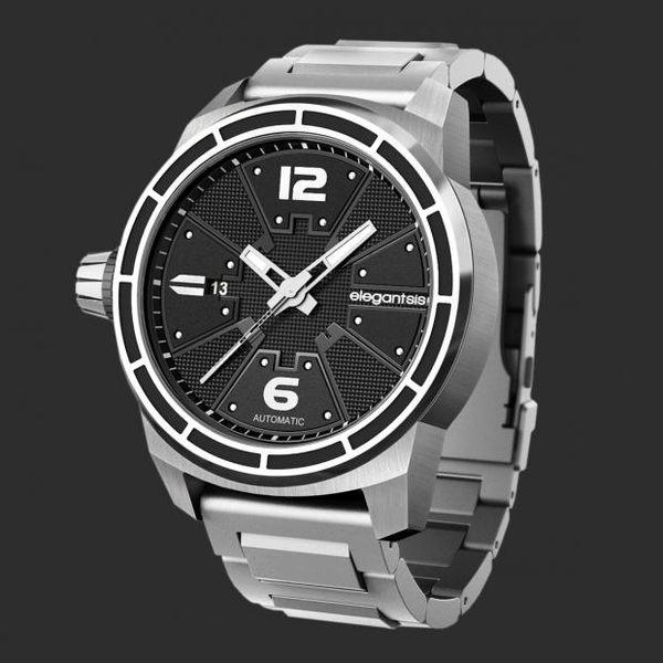 【萬年鐘錶】Elegantsis JF48A-戰鬥機-黑金