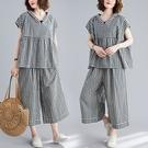 百搭格紋連帽顯瘦套裝(上衣+褲子)-大尺碼 獨具衣格 J3695