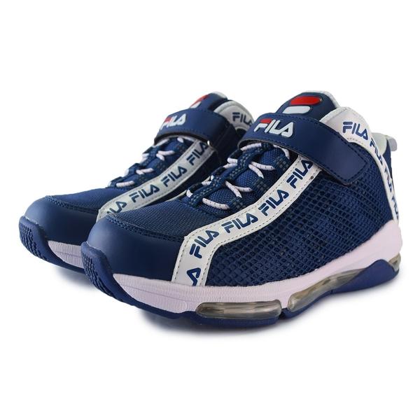 FILA童鞋 男童籃球鞋 足弓鞋墊 高筒 氣墊慢跑鞋 跑步鞋 矯正鞋 運動鞋 大童 魔鬼氈 R7601#白藍