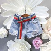 ✡老闆定錯價✡  女童女寶寶字母印花牛仔短褲時尚休閒毛邊破洞熱褲