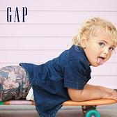 Gap男幼童 時尚花卉印花休閒短褲 468115-靛藍色