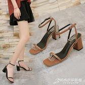 新款涼鞋女夏韓版百搭露趾一字帶高跟粗跟涼鞋方頭中跟女鞋潮 時尚芭莎