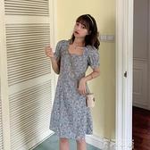 春款2021年新款藍色碎花洋裝女夏季法式方領氣質泡泡袖裙子 雙十同慶 限時下殺