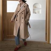 風衣女 2019秋裝韓版寬鬆翻領雙排扣風衣外套女復古氣質中長款大衣開衫