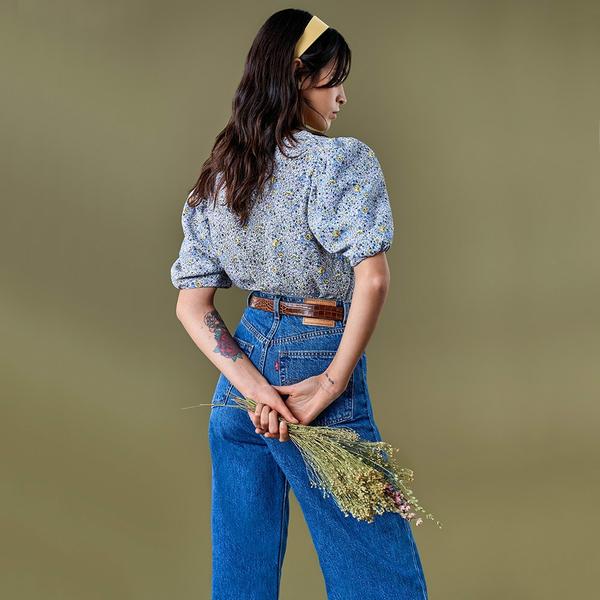 Levis 女款 復古超高腰牛仔寬褲