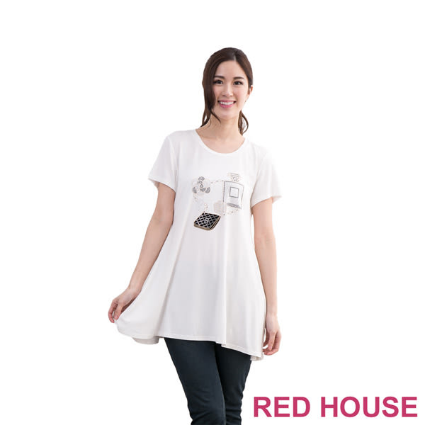 RED HOUSE-蕾赫斯-花朵貼鑽長上衣(白色)