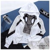 Catworld 側撞色網眼袖連帽運動外套【15003708】‧2XL-4XL