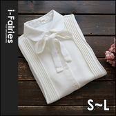 5天出貨★蝴蝶結打褶雪紡長袖襯衫上衣★ifairies【35989】