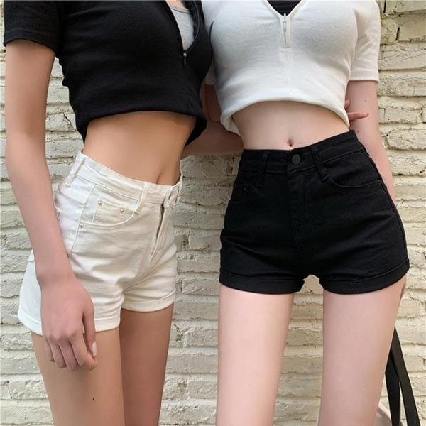 新款高腰彈力超短熱褲緊身黑色牛仔短褲女夏季顯瘦褲子潮ins 元旦全館免運