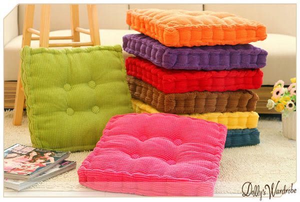 ☆Dolly生活館*╮可愛糖果色辦公室玉米絨舒適榻榻米加厚方形坐墊/椅墊 20013